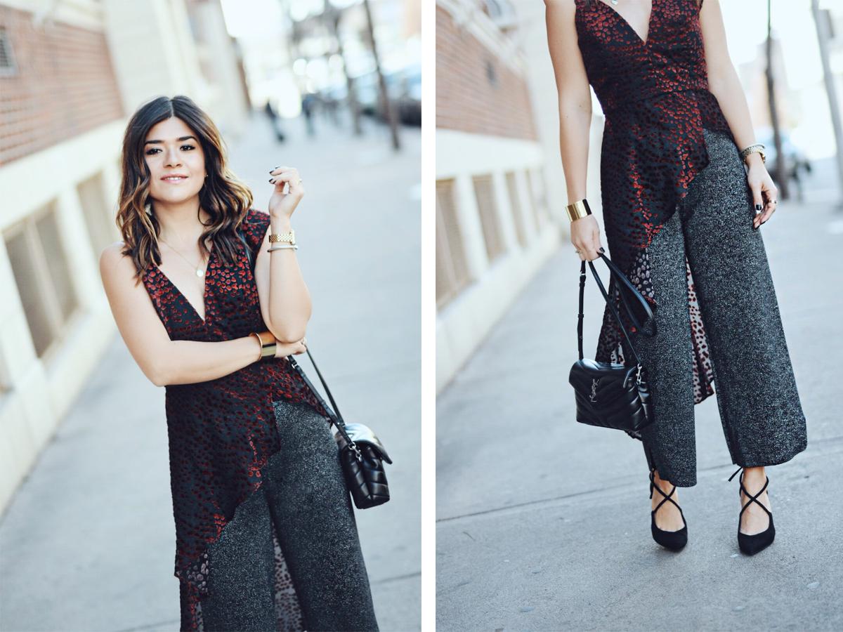 Carolina Hellal of Chic Talk wearing a WAYF asymmetrical top, Leith sparkly pants, Nine West black pumps and YSL crossbody bag.