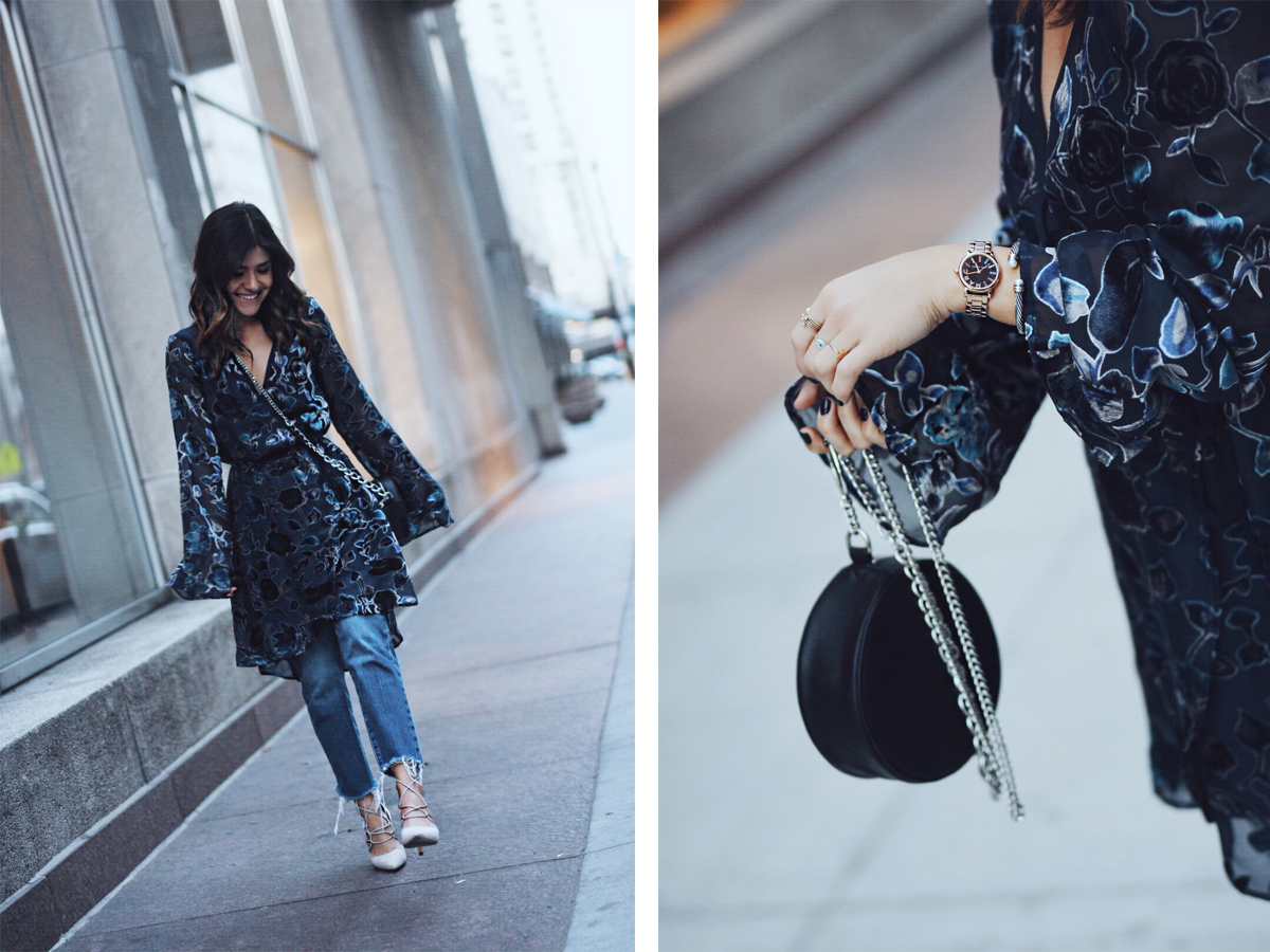 Carolina Hellal of Chic Talk wearing Band of Gypsies velvet dress, levi's straight jeans and Nine West pumps