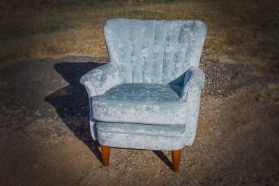 Fluted Upholstered Velvet Arm Chair