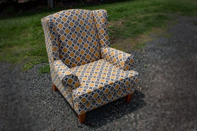 Modern Pattern Wing Back Chair