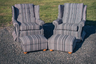 Perfectly Pattern Matched Stripe Wing Back Chairs with Matching Ottomans - Upholstery by Chic Upholstery