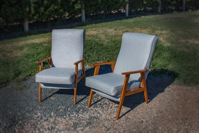Vintage Soft Blue Upholstered TV Chairs
