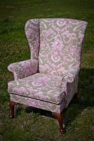 Upholstered Feminine Wing Back Chair