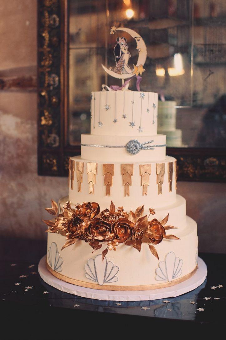 20 Deliciously Decadent Art Deco Wedding Cakes  Chic