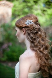 feminine long wavy bridal hairstyles