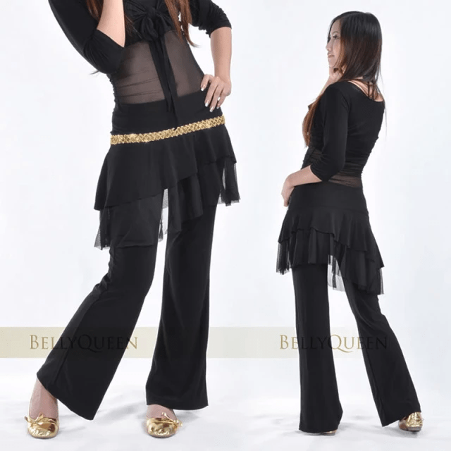 Belly Dance Skirt Pants with Gold Sequins Long Pants with Wide Bottom