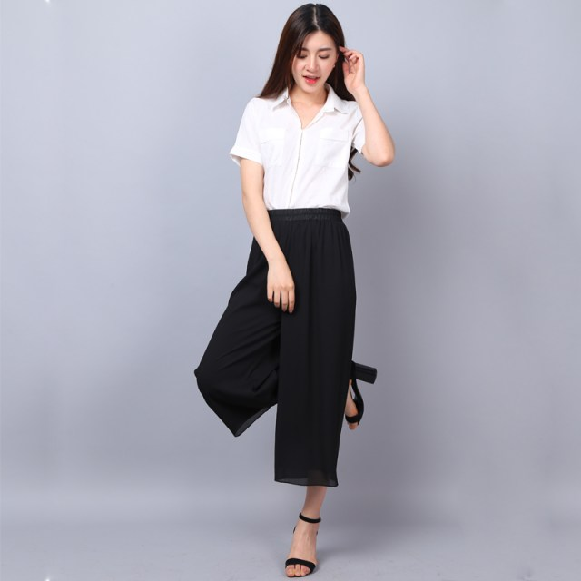 Culottes for Women High Waist Black Culotte Pants -Thin Bilayer Chiffon Net-Yarn Splicing