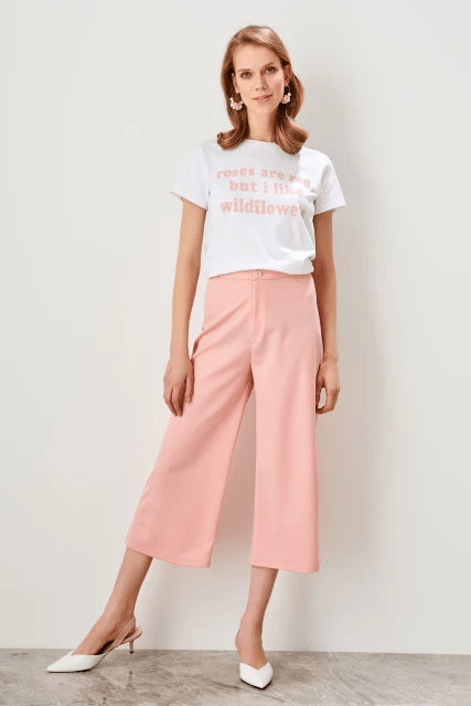 Culottes for Women - Light Pink