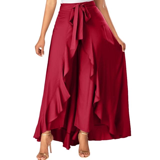 High Waist Front Tie Split Skirt Overlay Pants for Women Maroon