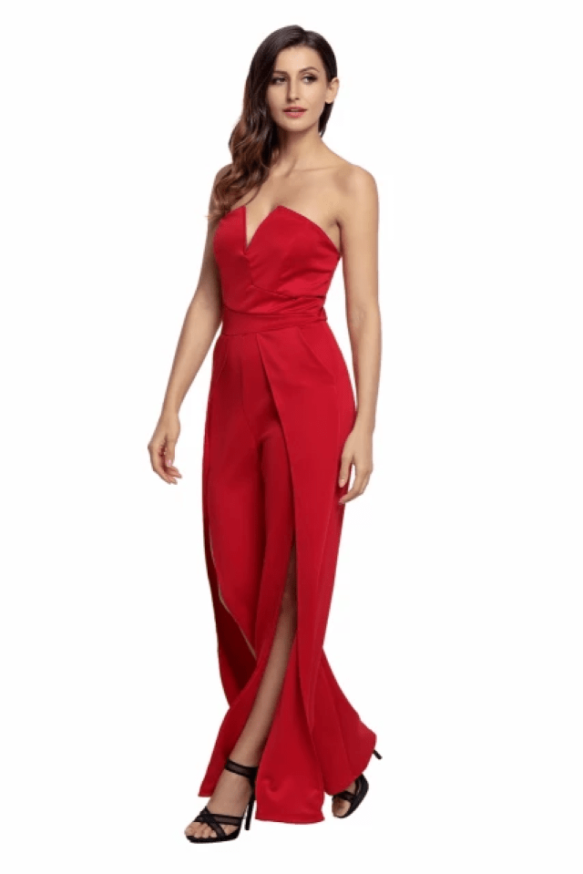 Jumpsuit with High-Slit Legs - Strapless Jumpsuit Wide Long Pants for Women Split Legs (7)