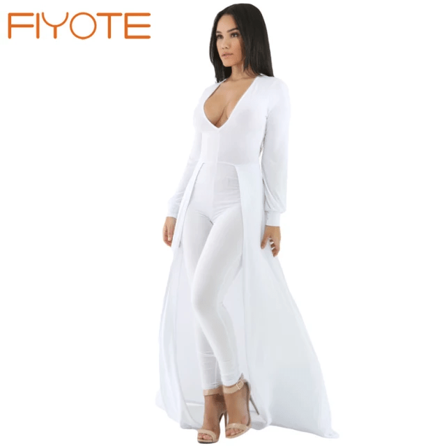 Jumpsuit with Skirt Overlay - Long Pants White Colour Low Cut Top