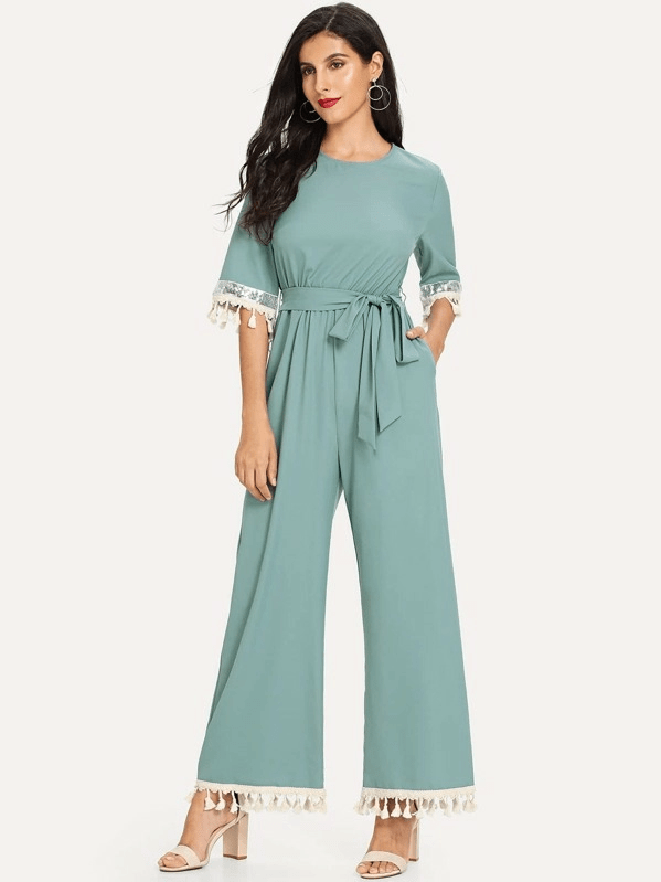 Jumpsuit with Wide Long Legs - Sleeveless Jumpsuit for Women (1)