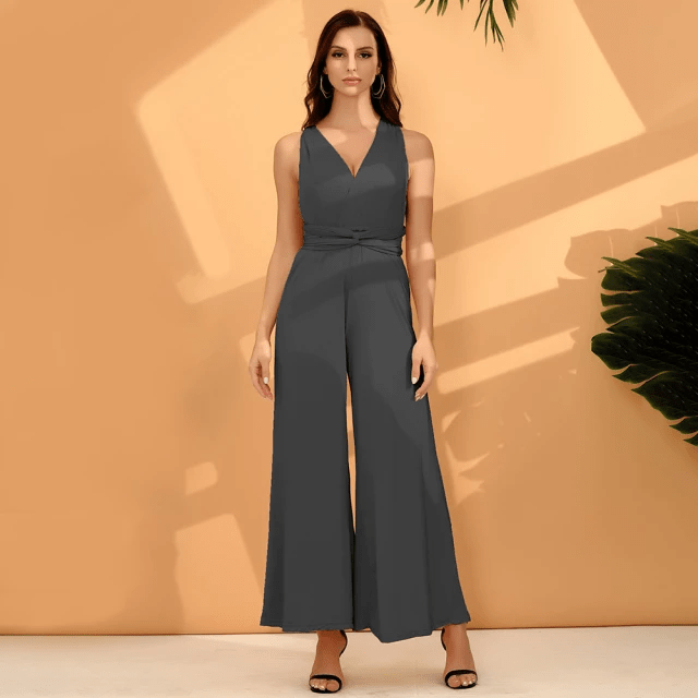 Jumpsuit with Wide Long Legs - Sleeveless Jumpsuit for Women (3)