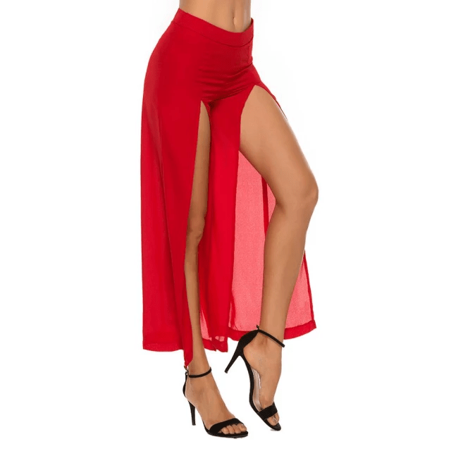 Long High-Slit Pants for Women Red Colour.jpg