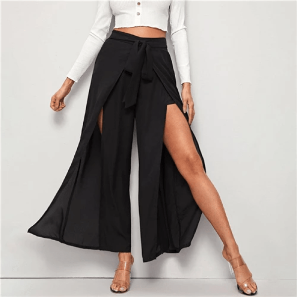 Wide Leg - Long High-Slit Overlay Palazzo Pants for Women