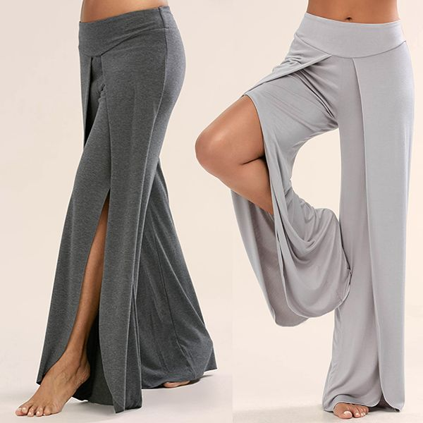 Wide Leg - Long High-Slit Overlay Pants for Women with Split Legs (1)