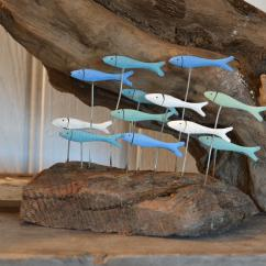 Kitchen Wall Plaques Track Lighting For Island Shoal Of Fish On Driftwood - Chicy Rachael