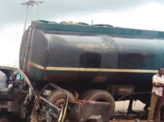 11 burnt to death as passenger bus collides with tanker