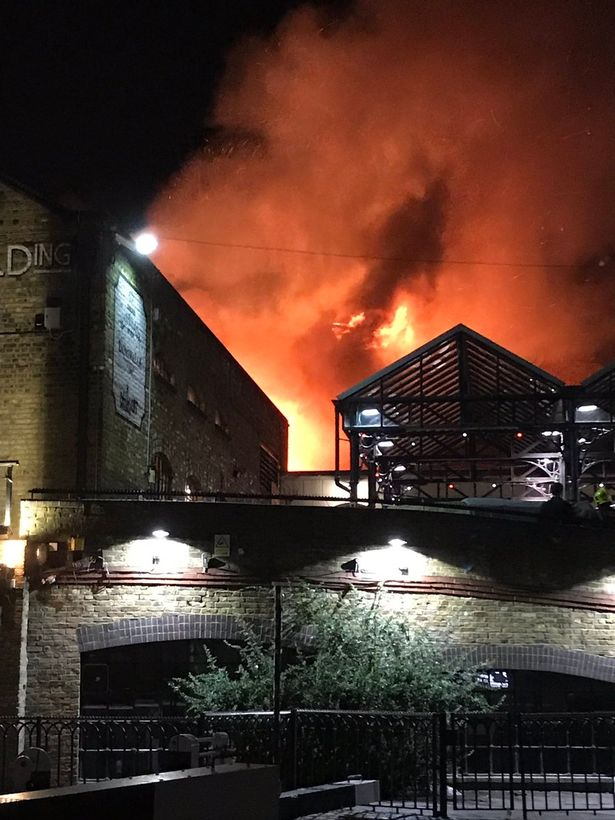 Dramatic scenes as 70 firefighters battle blaze at Camden Lock Market