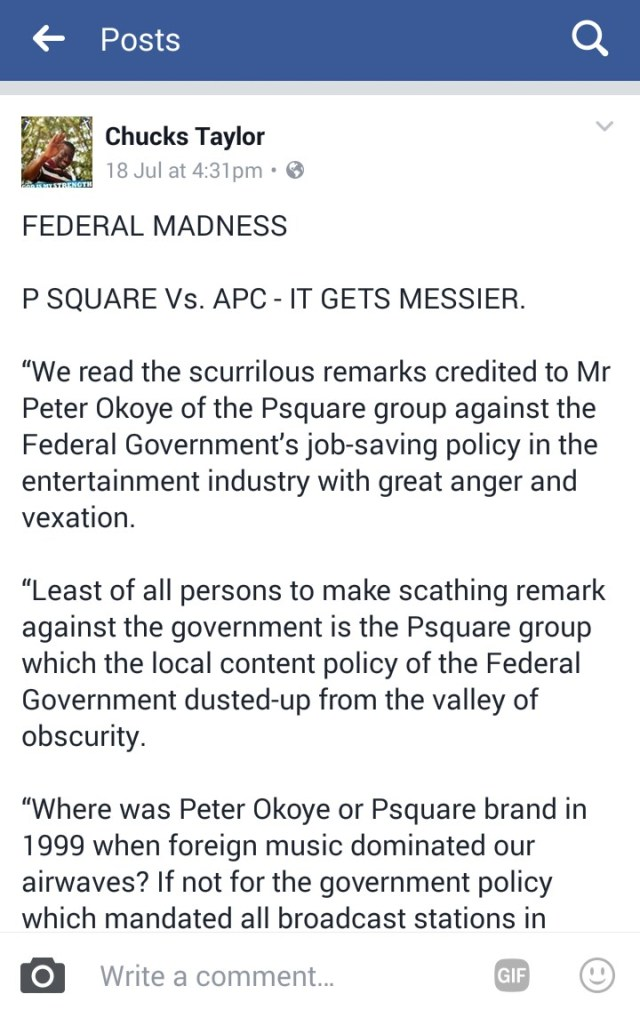 Peter Okoye of Psquare vs. APC Government