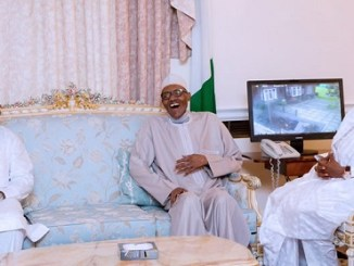 New Photos of Buhari, Wife Receiving delegate In London