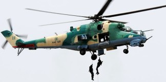 Nigerian Air Force helicopter crashes into water