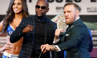 Floy Mayweather and Conor McGregor pose