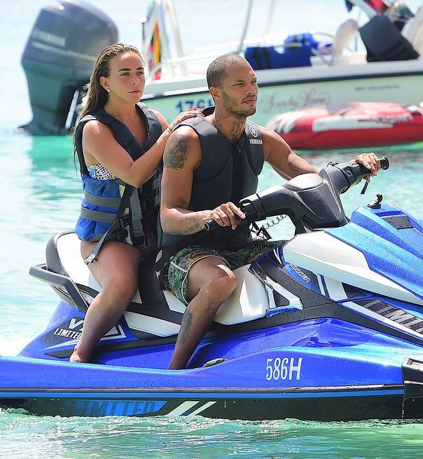 Jeremy Meeks and Topshop heiress Chloe Green kiss for camera and show off Barbados carnival outfits