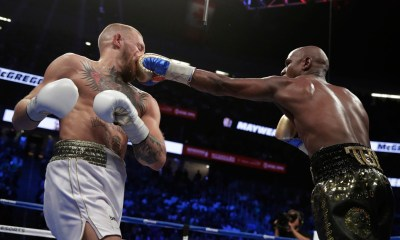 Mayweather catches McGregor with a crisp left hook