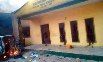 Curfew in Jos, Angry IPOB members raze down Aba police station, vehicles