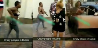 Angry Nigerian lady strips nak3ed to fight in the streets of Dubai - Video