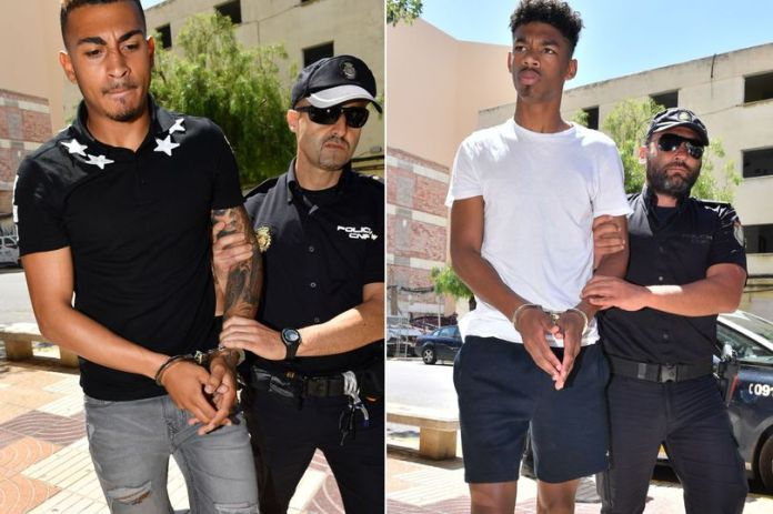 Taken to Ibiza court in handcuffs, the British footballers accused of sexually assaulting teenager