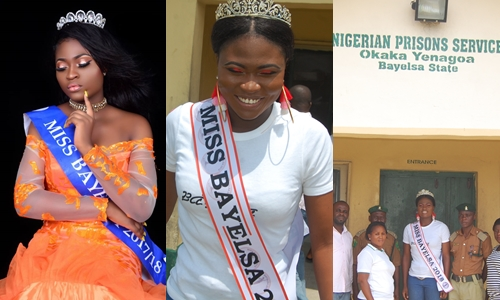 Photo of Miss Bayelsa 2018 Queen Freda Fred goes to Prison (See Photos)