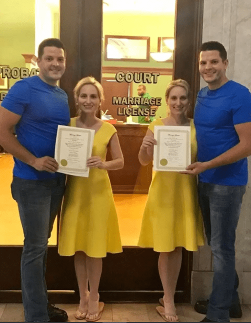 Twin sisters marry twin brothers in a ceremony officiated by twin ministers in a town called Twinsburg