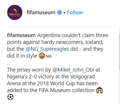 Mikel Obi's jersey worn during 2018 World Cup has been added to the FIFA museum collection