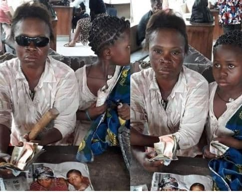 Blind beggar regains eyesight after she was threatened with tear-gas