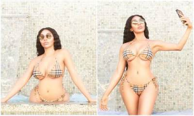 Dencia flaunts her hot bikini body in sexy Burberry swimsuit (Photos)