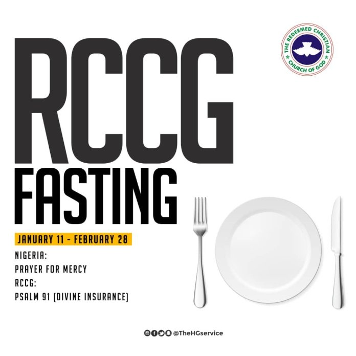 RCCG 2019 Fasting And Prayer Points 1 February 2019 - Day 22
