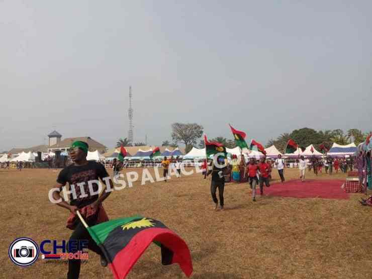 IPOB members storm Oji Mbaise venue insist on 'No Election in Biafra land' - Photos/Videos
