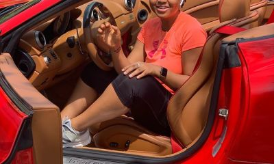 Actress Regina Daniels flaunts new car