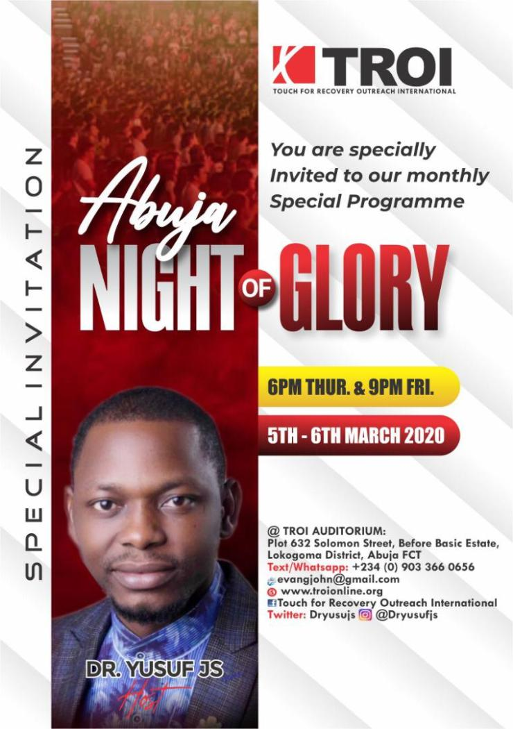 Dr. Yusuf reveals keys to activate supernatural favour, holds Special Monthly Program, Abuja Night of Glory