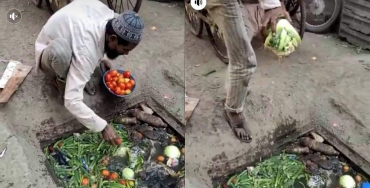 Vegetable seller caught picking his wares from a dirty drainage to sell (Photos)
