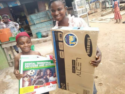 Nigerians purchase TV, rent home for little girl who got battered by her father for watching TV at a neighbor's house