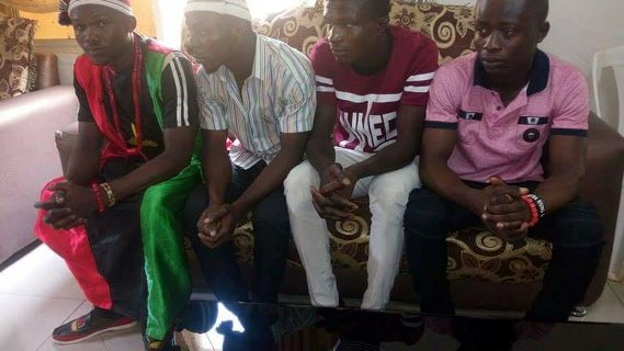 IPOB members bow to their leader, Nnamdi Kanu, during a visit