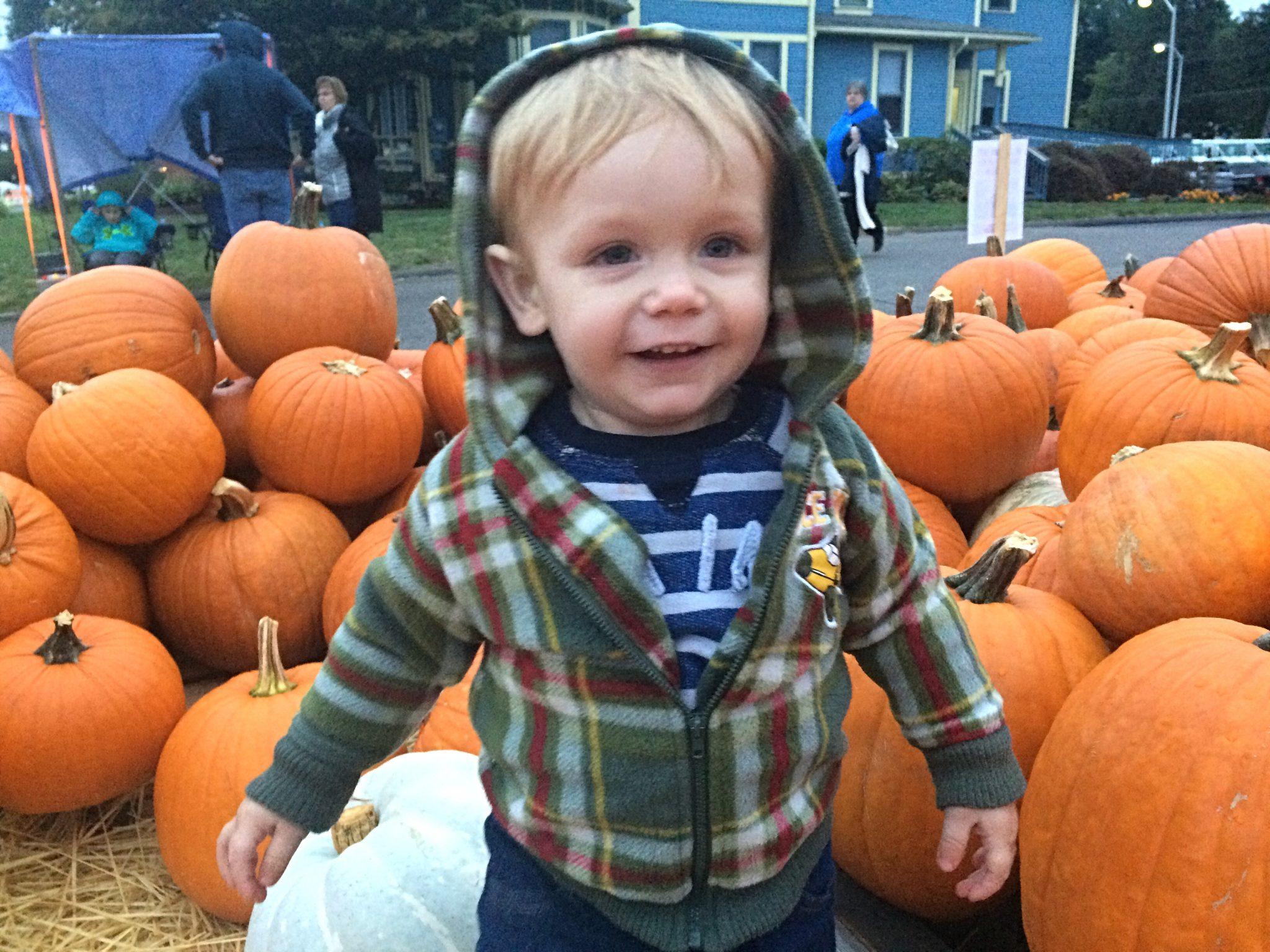 Alex in the pumpkin patch