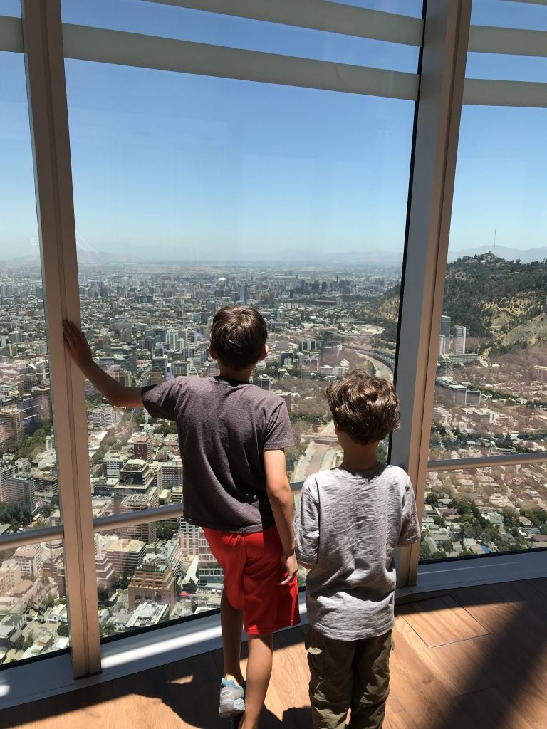 The Junior ThreeYears looking out over the city of Santiago