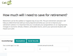 Calc XML Retirement Calculator Review