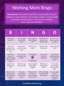 Annoying Questions For Working Moms Bingo