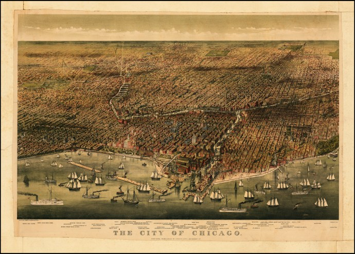 1874 Birds eye map of Chicago