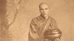 U Dhammaloka dressed in the traditional attire of a Burmese monk in 1902. Photograph: The Buddhist Society